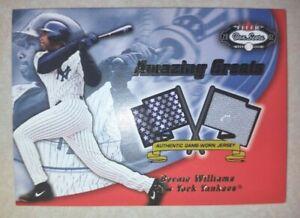 2002 Fleer Box Score BERNIE WILLIAMS N.Y. Yankees Game Worn GREY JERSEY Swatch!
