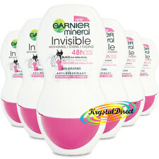 6x GARNIER minerali INVISIBILE ANTI perspirant DEODORANTE ROLL ON 50ML alcol libero