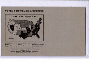 National American Woman Suffrage Association NAWSA Postcard - Suffrage Map