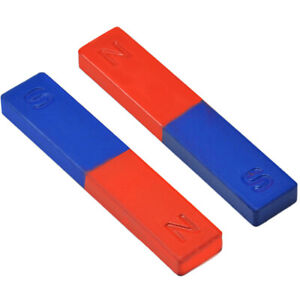 2PCS PHYSICS EXPERIMENT POLE TEACHING TOOL RED BLUE PAINTED N/S BAR MAGNET