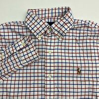 Ralph Lauren Button Up Shirt Mens S Blue Red White Slim Fit Stretch Oxford Check