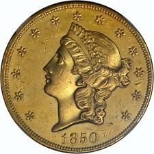 1850 $20 Liberty Double Eagle NGC AU Details - First year of issue!