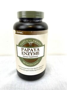 GNC Natural Brand Papaya Enzyme 600 Chewable Tablets New With Factory Seal Top