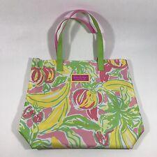 Lilly Pulitzer Estee Launder Beach Tote Bag Tropical Floral Print EUC