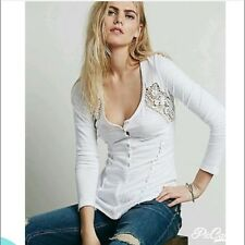 NWT Free People Heart Of Gold Crochet Henley Top Shirt White  M