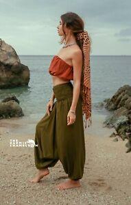 Harem Pants Plain Green Hippie Comfy Yoga Festival Boho Gypsy Clothing Hippy