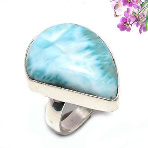 Larimar Gemstone 925 Sterling Silver Handmade Jewelry Ring Size 8 7600