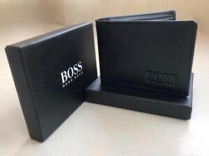 New Hugo Boss Men's Black Leather Wallet Bank Card, Note & Coin Pocket on Sale