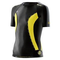 Skins DNAmic Youths Compression Short Sleeve Top Black/Citron Free AUS Delivery