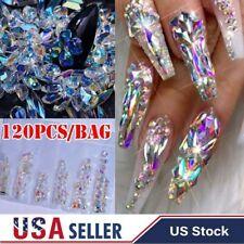 120Pcs AB Nail Art Diamond Gems Glitter Rhinestones Crystals Stones Nails Decors