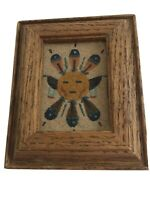 Southwestern Sand Art Sun and Eagle Small Wood Framed 4 x 3.5