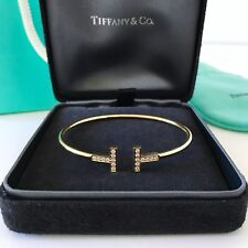 Tiffany & Co.T-Wire Yellow Gold Diamond Bracelet size Medium $3300+ W/Packing!