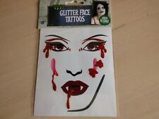 Glitter Blood Red Temporary Face Eye Tattoo Vampire Fancy Dress Costume Party