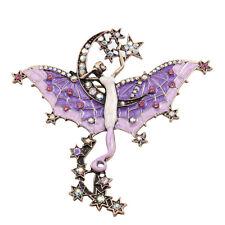 AB Crystals Purple Enamel Stars Fairy Pin Brooch