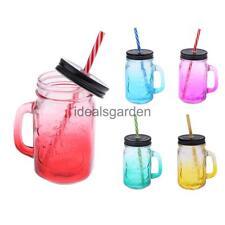 Gradient Color 480ML Glass Handled Drinking Jar Mason Mug & Straw Cocktail