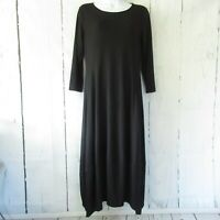 Comfy USA Dress S Small Black Maxi Lagenlook Modal 3/4 Sleeve