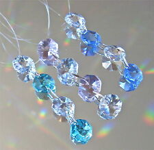 Three Crystal Ornament Prism Suncatchers, Green Blue Pink Clear Prisms