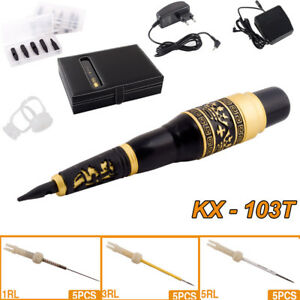 Rotary Tattoo Machine Pen Kit Foot Pedal Power Supply Tips Needles Cartridge Set