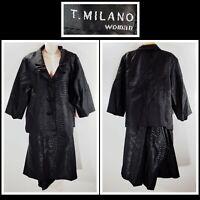 T MILANO Woman Skirt Suit Set Size 20W 22W Plus Blazer A Line DR66