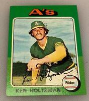 1975 Topps Mini Baseball Card # 145 Ken Holtzman Oakland Athletics A's