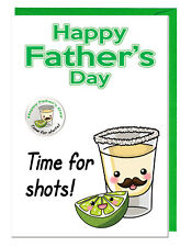 Funny Joke Dad Stepdad Fathers Day Card & Badge - Tequila & Lime Time For Shots