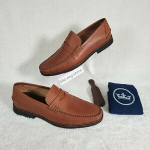 Peter Millar Hyperlight Hand-sewn Leather Penny Shoes Mens Sz 11.5 MF20F62 $249