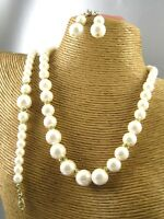 Elegant Pearl Beads Necklace Bracelet Earring Set Costume Metal Fashion Jewelry