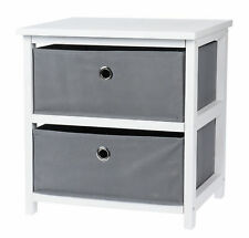 Holz Nachttisch weiß 43 cm - 2 Schubladen - Beistelltisch Kommode Schrank klein
