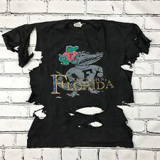 VTG 80's FLORIDA GATORS T-Shirt XL Nutmeg Mills Shredded Destroyed Black USA