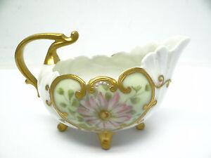 Antique Old Fine Porcelain Hand Painted Pink Flower Kitchen Gravy Boat Vessel