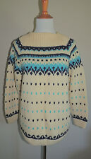 VINTAGE 50s-60s WOMENS HANDMADE FAIR ISLE WOOL BLEND SWEATER