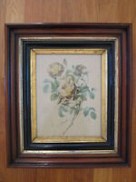 antique Pierre Redoute Les Roses signed PRINT white flower vtg wood gold frame