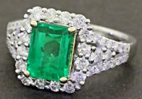 GIA 14K WG 3.41CTW VS-SI/G diamond & 8.7 X 6.5mm Colombian emerald cocktail ring