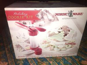 Nordic Ware Holiday Cookie Kit spritz press discs cutters tips Recipe Book Xmas