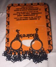 Claire's Black Gothic Dangle Earrings Accented With Cute Little Spiders