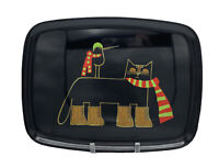 Couroc Black Tray w/ Wood Inlay Cat in Scarf & Boots w/ Bird Monterey California