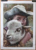 "Fine art original oil painting portrait of Tibetan girl holding a sheep 16""x24"""