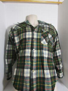 Vintage Pendleton LOBO Wool Button Front Long Sleeved Flannel Plaid Shirt Size L