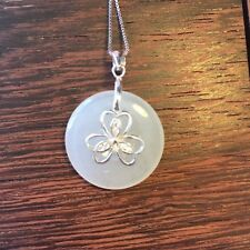 Genuine Nice Icy White 25.5CT Jadeite Jade(Type A) 925 Silver Pendant with Chain