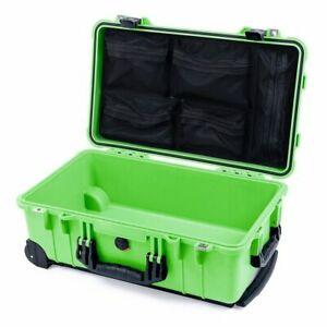 Lime green & Black Pelican 1510 case NO Foam & Mesh lid organizer.