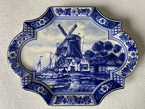 Delfts Blue & White Delfino Plate Wall Hanger Holland Sailboat Windmill