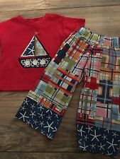 Monag Boys Sailboat Outfit Size 12 Months Patchwork Madras