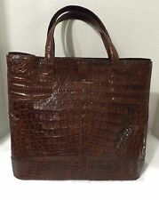 NANCY GONZALEZ BROWN ALLIGATOR TOTE SHOPPER HANDBAG