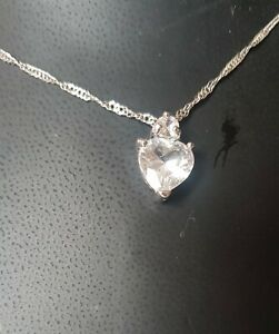 womens silver fashion necklace with crystal stone heart pendant