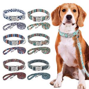 Nylon Personalised Custom Dog Collar and Lead Set Adjustable Engraved ID Buckle
