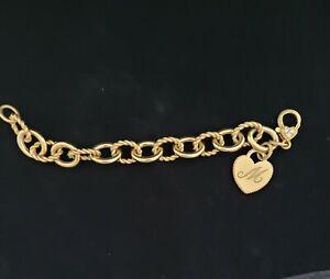 Judith Ripka Verona heart initial Rolo link bracelet 7in.