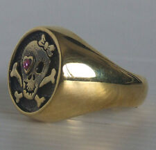 Bronze Hello Kitty Skull Biker Ring Custom Size MC Handmade Pink Crystal R118b