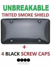 UNBREAKABLE TINTED SMOKE LICENSE PLATE TAG HOLDER FRAME BUMPER SHIELD COVER NEW
