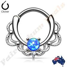 316L S Steel Lacey Silver Plated Septum Ring Clicker with Single Blue Opal