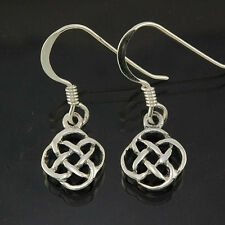 Handcrafted Pure Sterling Silver 925 Tiny Celtic Loop Knot Dangling Earrings